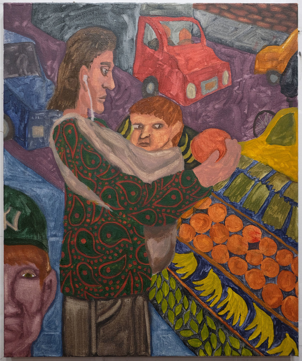 """Woman with Infant and Fruit , 2017  Oil on canvas  20"""" x 24"""""""