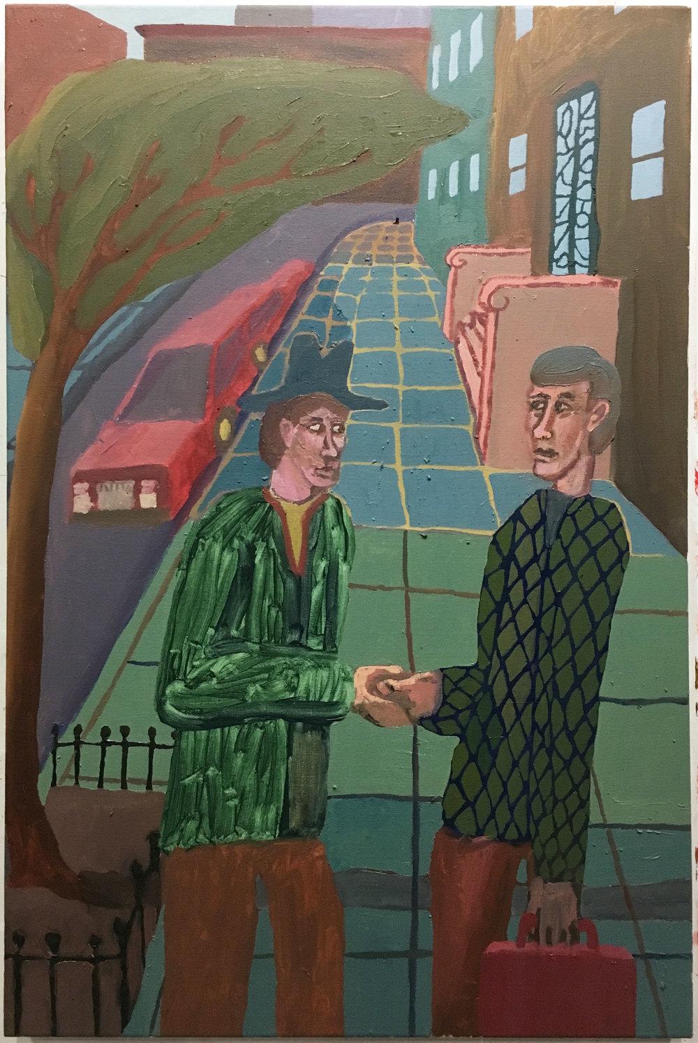 "Handshake , 2017  Oil on canvas  24"" x 36"""