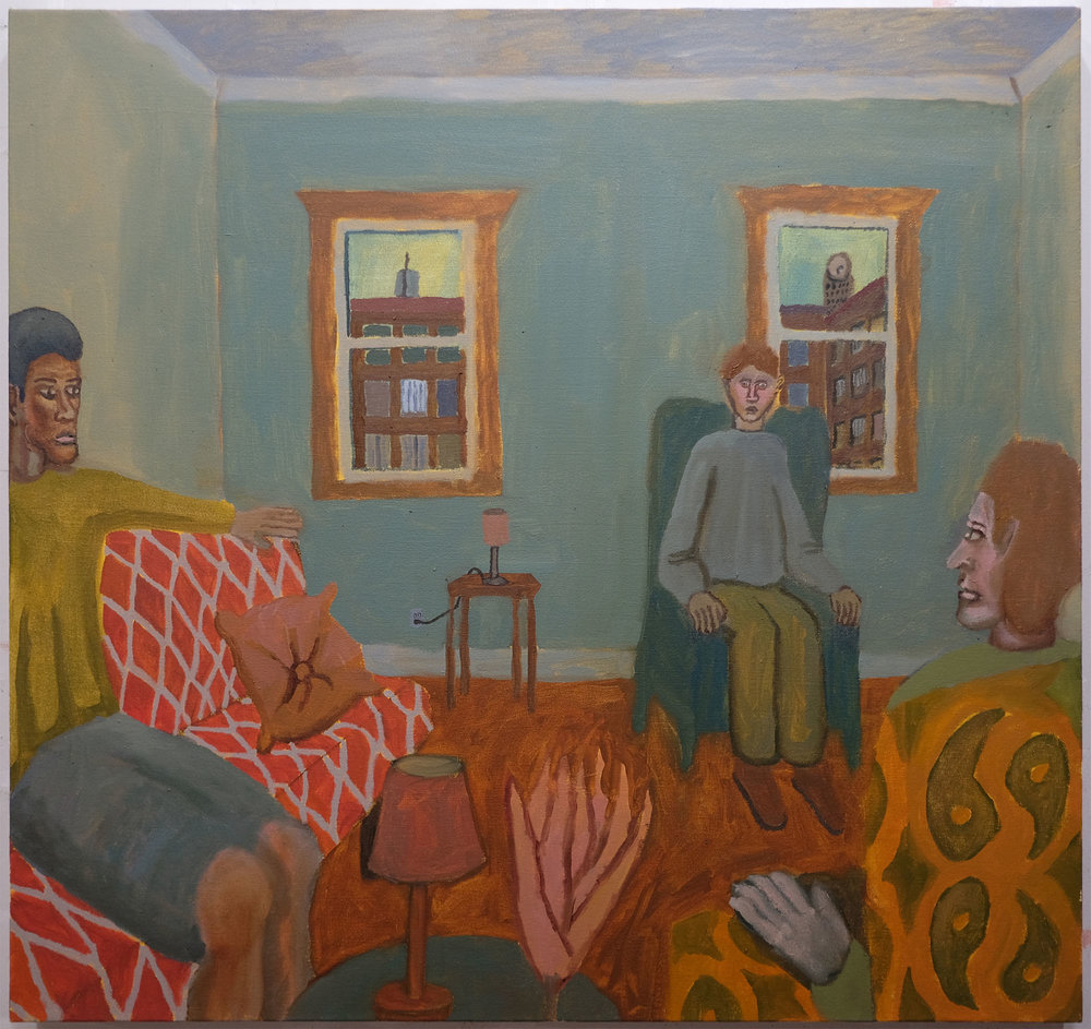 """Living Room , 2017  Oil on canvas  38"""" x 36"""""""