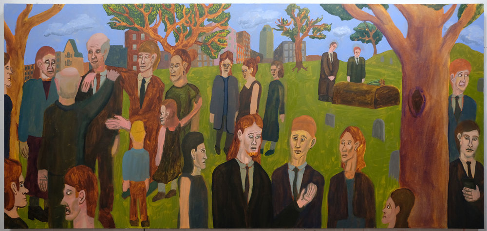 """Funeral , 2017  Oil on canvas  90"""" x 42"""""""