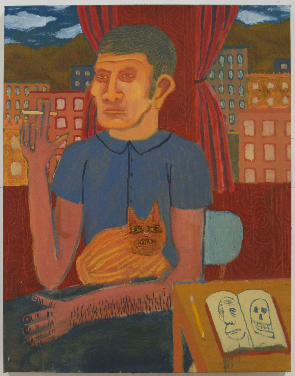 Gentleman with a Cat , 2015  Oil on canvas