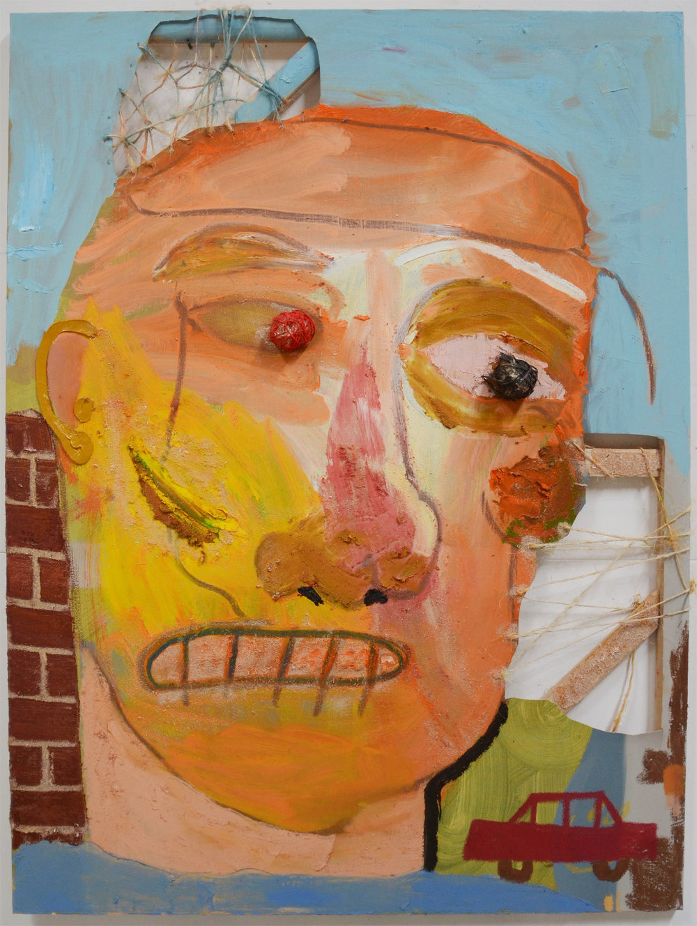 Head on the Street , 2015  Oil, acrylic, sawdust, and twine on canvas