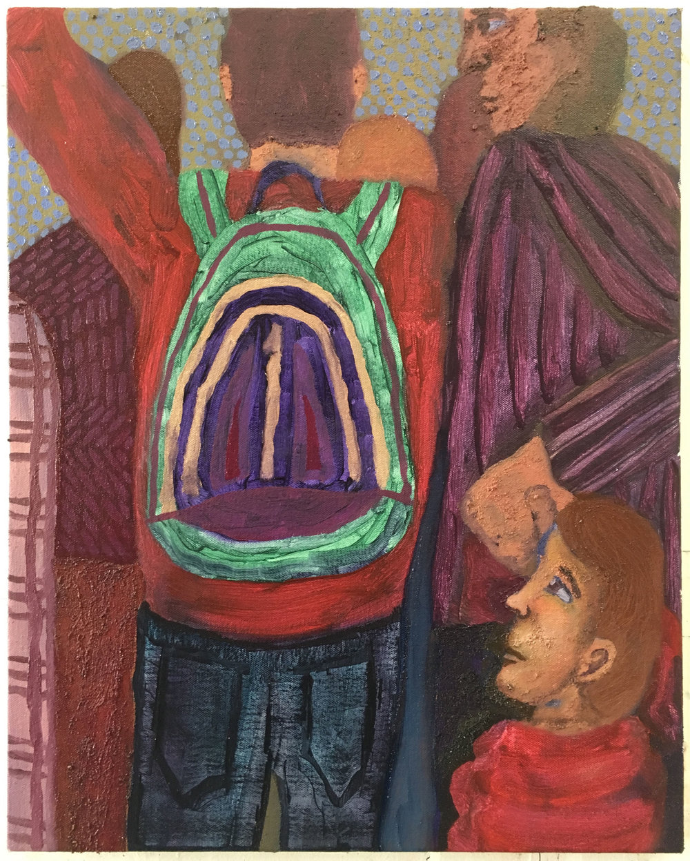 "Cool Backpack , 2018  Oil, sand and sawdust on canvas  16"" x 20"""