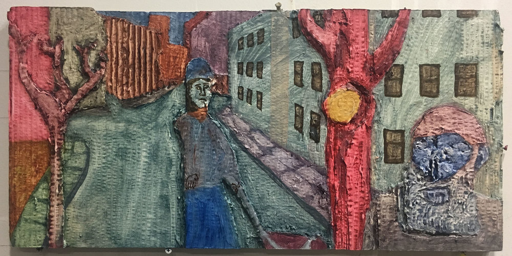 "Leonard Street , 2018  Oil and gesso on cardboard construction  19"" x 9"""