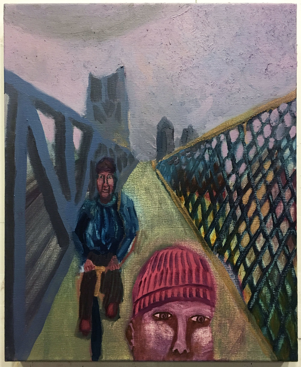 "Queensboro Bridge Bike Path , 2018  Oil, sand and sawdust on canvas  12"" x 16"""