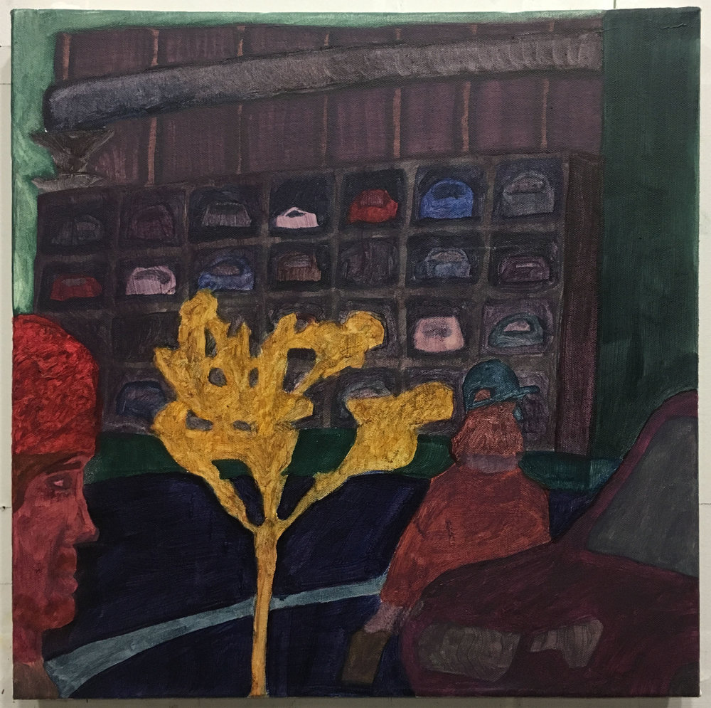 "Parking Lot , 2018  Oil on canvas  16"" x 16"""