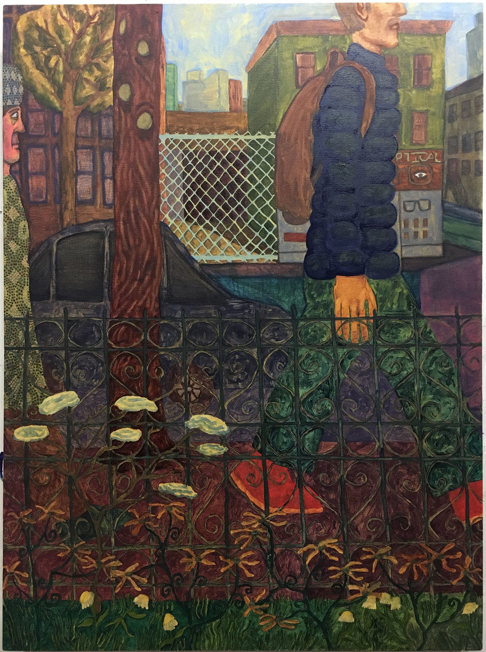 "Spying , 2018  Oil on canvas  36"" x 48"""
