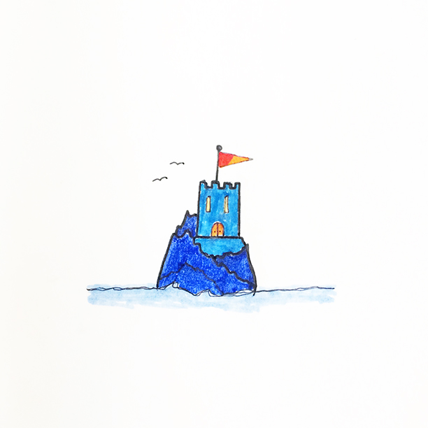 "077.  ""Castlerock""  Something's last for ages and ages, like this castle on a rock in the ocean I imagined. Other things, like weekends, do not last for ages. They definitely need to be a bit less impermanent. #castle #weekend"