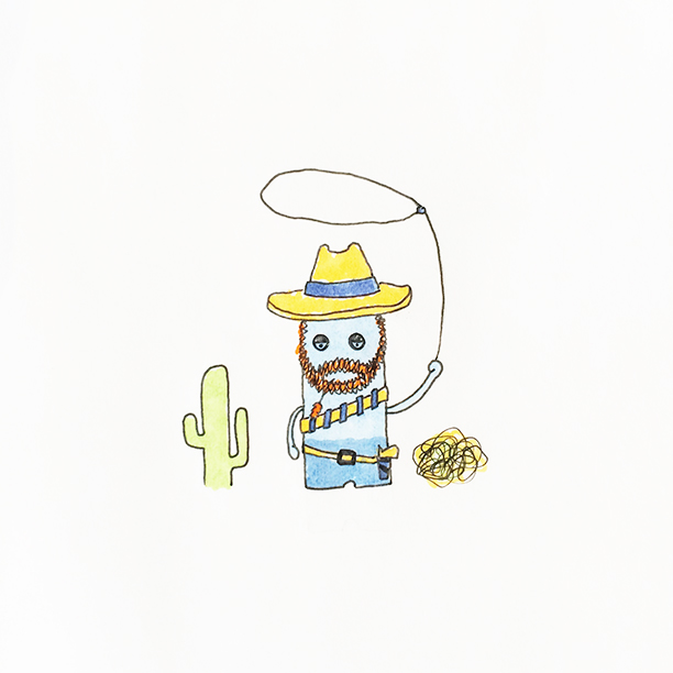 "070.  ""Depressed Cowboy""  Sometimes even cowboys have bad days. Don't be hard on yourself, get your lasso and go catch that cactus. #cowboy #lasso #cactus"