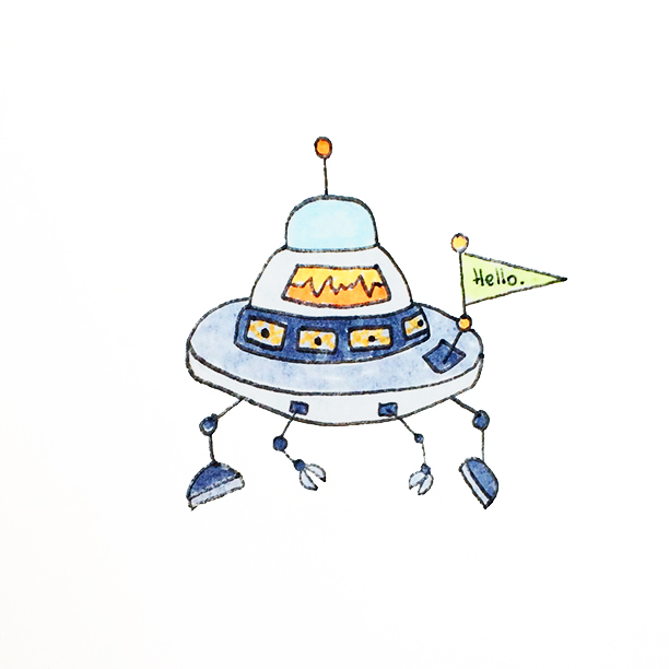 "037.  ""UFO""  One day I hope that we find aliens. I also hope they are friendly, don't try to eat us and come in rather cute space-crafts like this. #ufo"