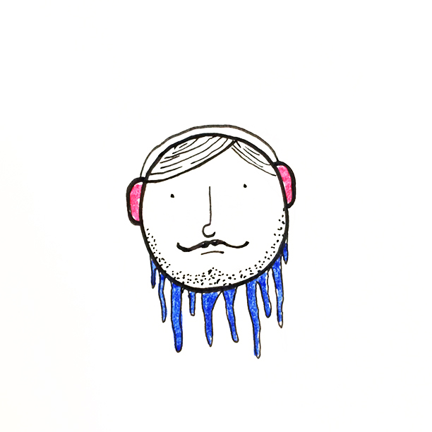 "030.  ""Ice-Beard""  It was one of those frozen, ice-beard kind of mornings. Luckily I drew myself some earmuffs! #ice #winter"