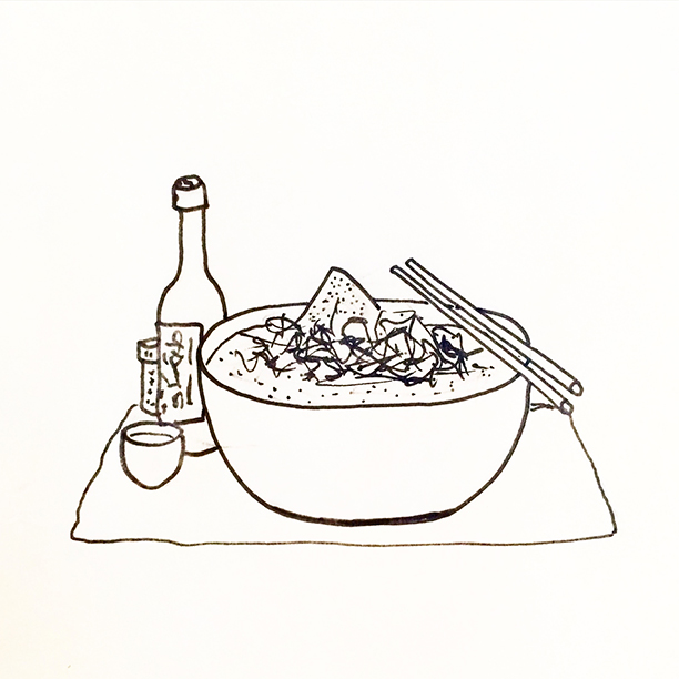 "014.  ""Sake+Ramen""  Wasn't a glimpse of summer left. It's the kind of night for a steaming bowl of ramen and too much sake for a Sunday."