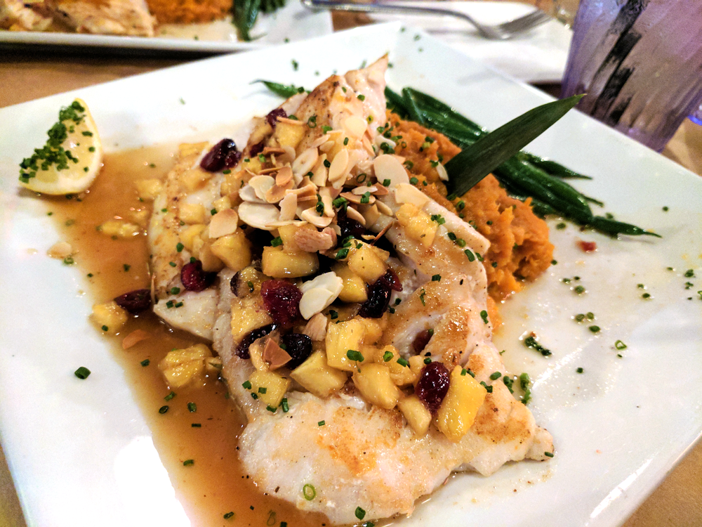 Grouper with mashed sweet potato and green beans from Square Grouper