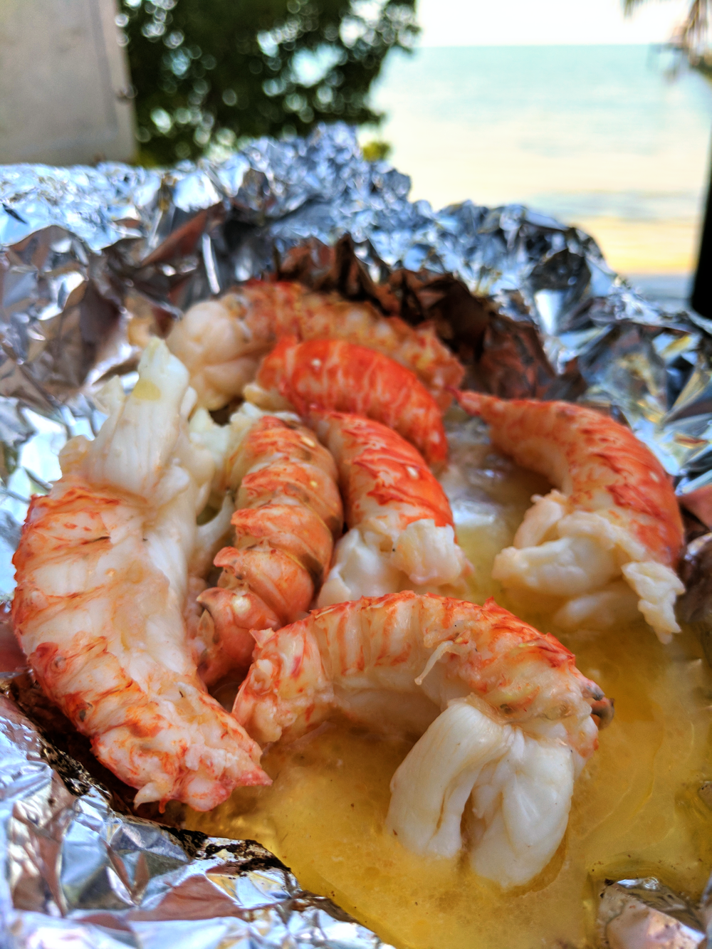 Fresh caught lobster tails grilled in butter!