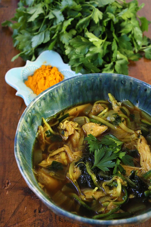 tumeric-chicken-kale-zoodle-soup