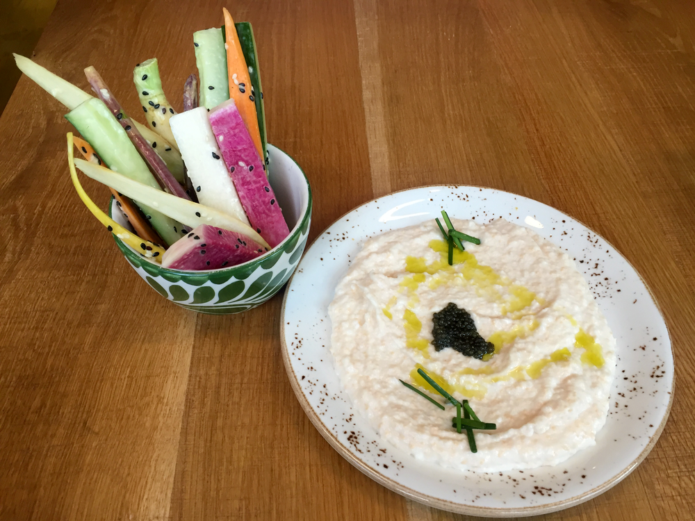I always start with Taramosalata, which is carp roe, caviar, and cauliflower. I order it with crudité to make it gluten-free!