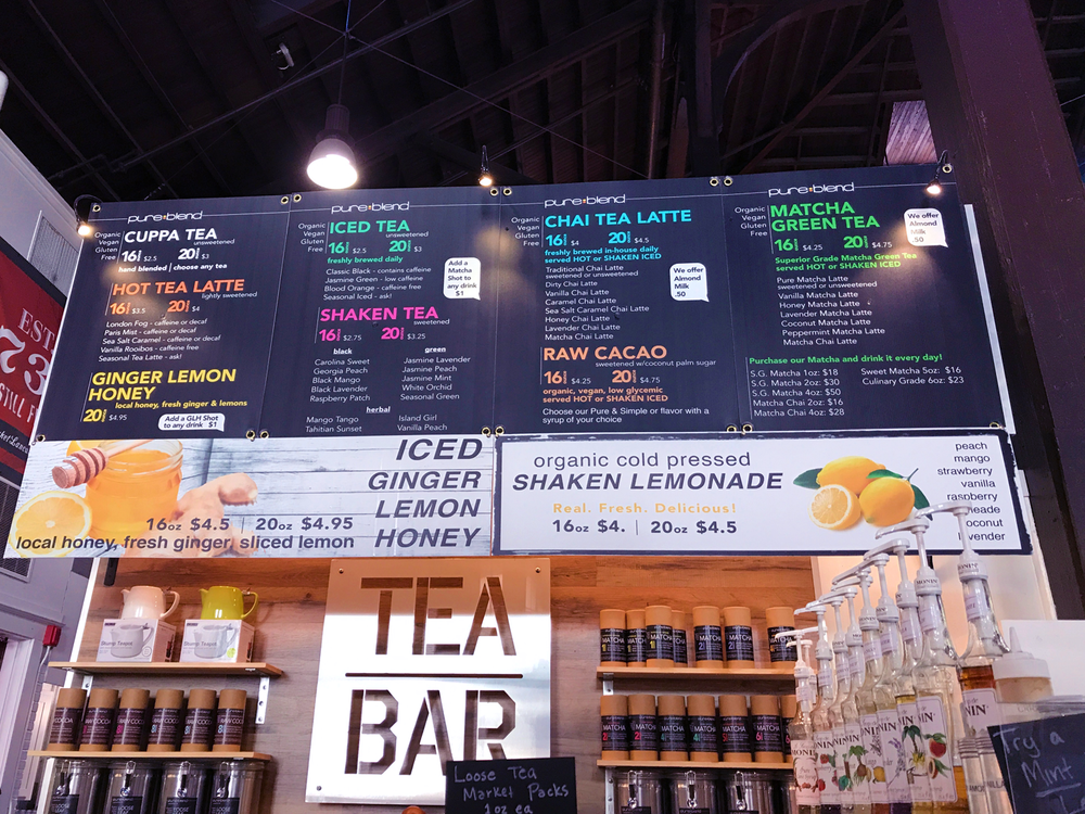 Tea Bar at Lancaster Central Market. I got the iced honey matcha latte with almond milk. Everything was organic, vegan, and gluten-free! The matcha was so good!