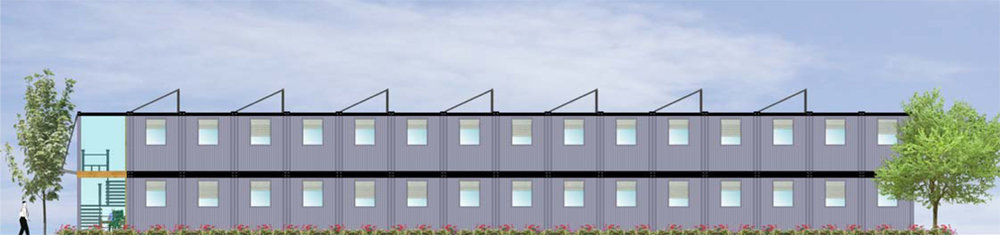 Units may be delivered with Roof Mounted Solar Panels. Apartment complex, Vancouver.