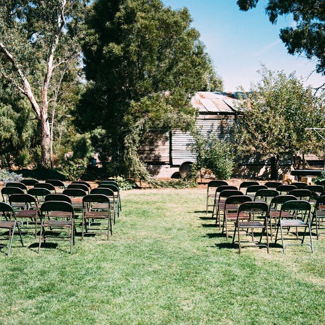 Set up for backyard ceremony
