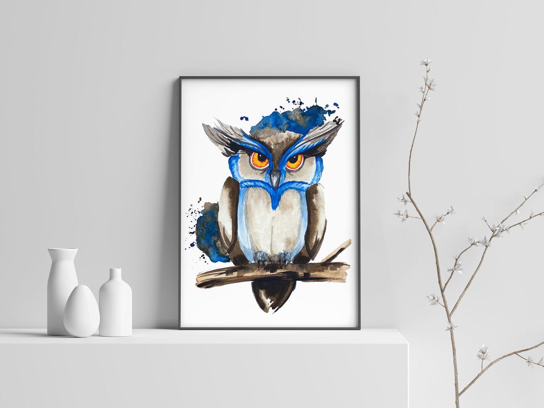 578a54bd88a Owl Watercolor Painting _ Wild bird Art Print