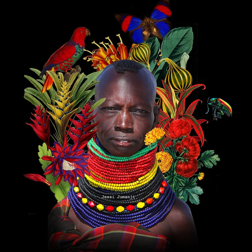 -  The main image in this digital collage derives from: DFID - UK Department for International Development, A woman wearing traditional tribal beads in Turkana, Kenya, October 2012 (8405274783), CC BY-SA 2.0