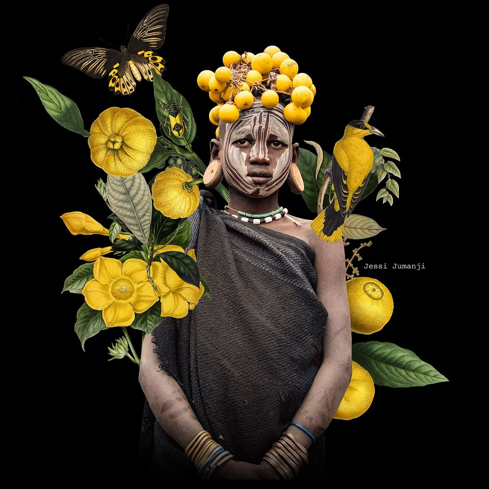 -  The main image in this digital collage derives from: Rod Waddington from Kergunyah, Australia, Mursi Girl (24515793220), CC BY-SA 2.0