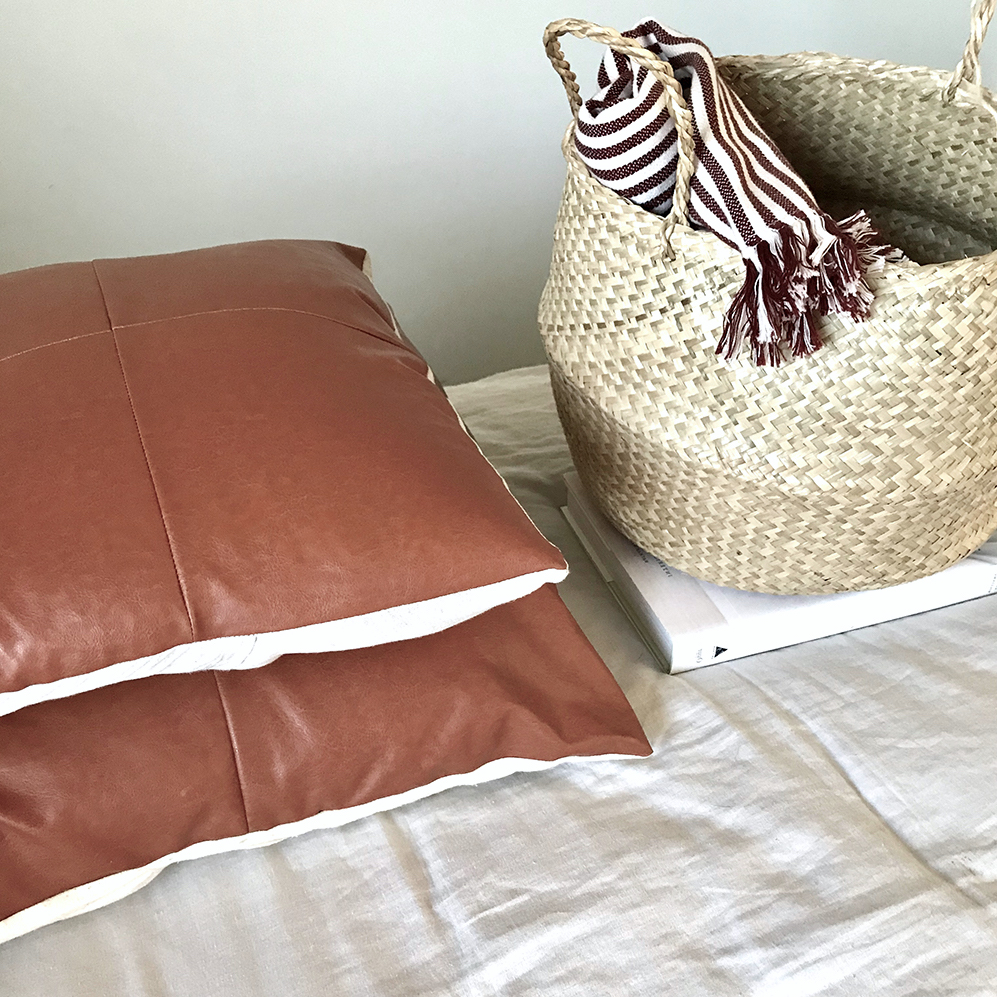 diy: faux leather panel pillow case -
