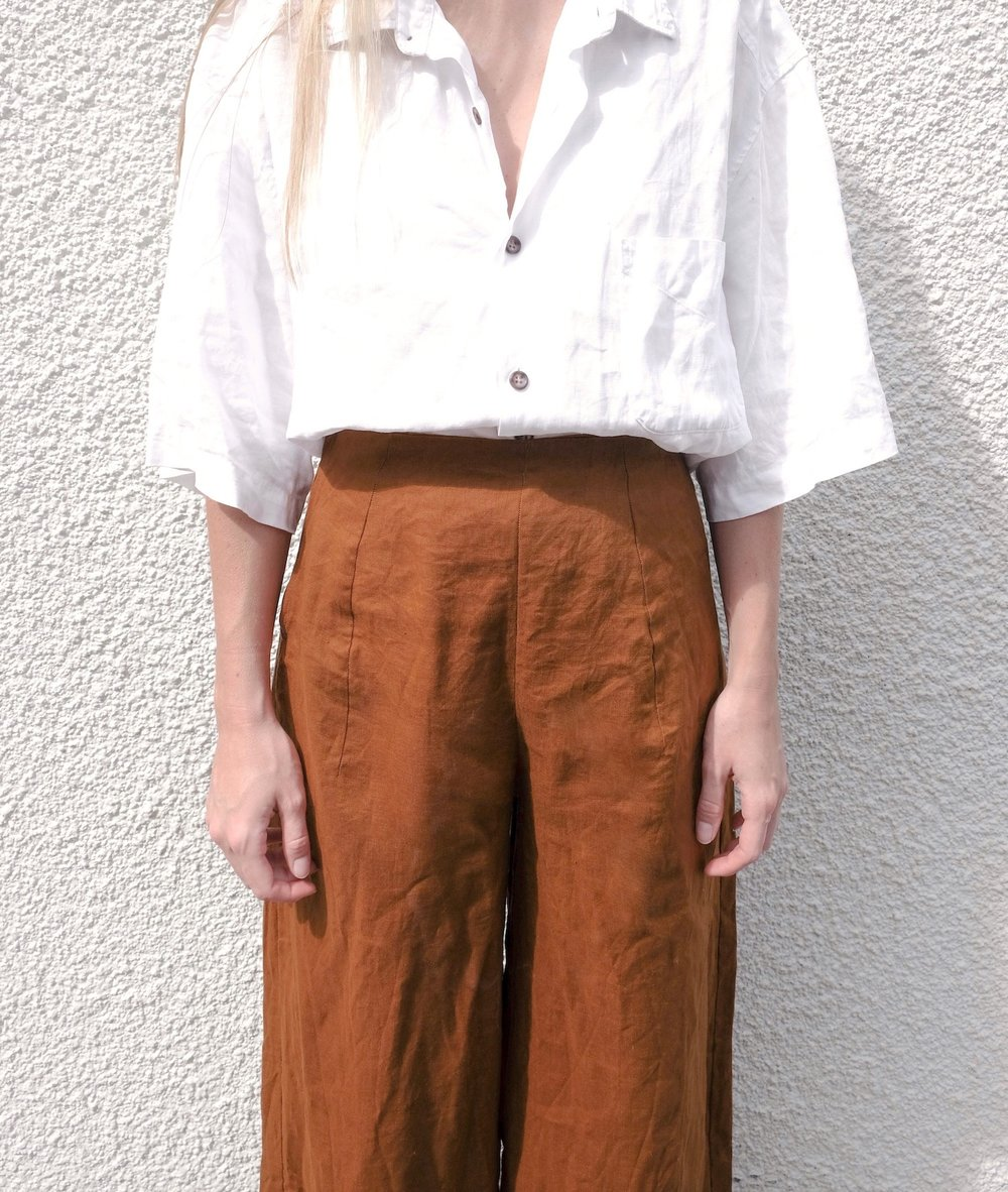 diy linen high waisted culottes