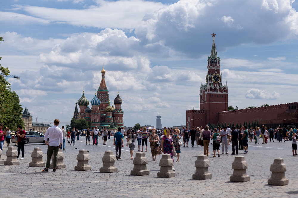 The most famous place in Moscow (and probably Russia), The Red Square. The church on the left is St. Basils Cathedral and the tower and the wall on the right is the Kremlin.