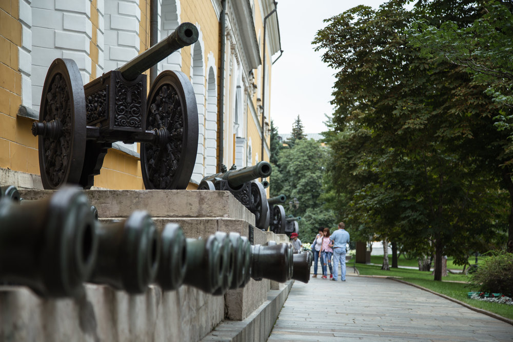 A collection of cannons used by the Russian militaries from various centuries.
