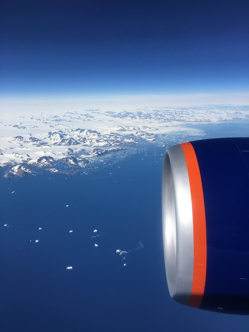 Heading back to the States. Can't say I didn't enjoy the view while flying over Greenland.