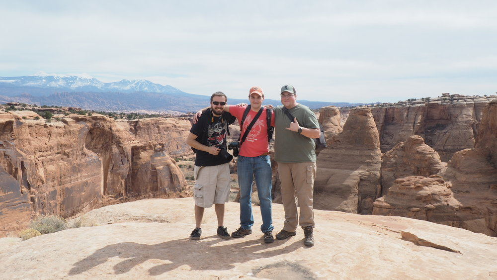 Photo Credit: Kyle Fred. Robert, Dallas, and I near the Gemini Bridges.