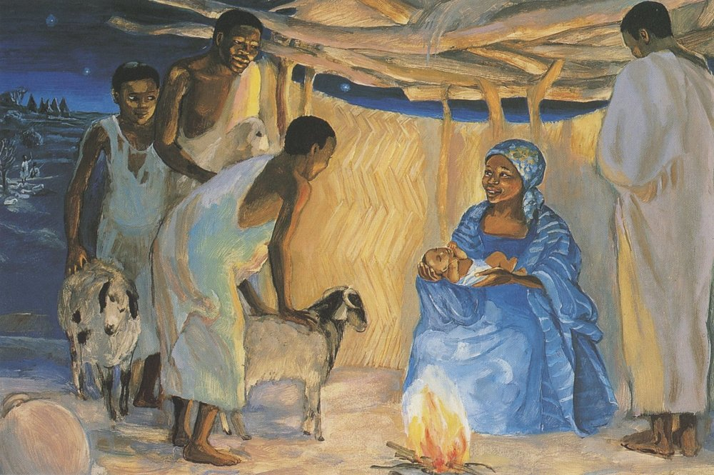 The Birth of Jesus With Shepherds , Jesus Mafa ( image credit )