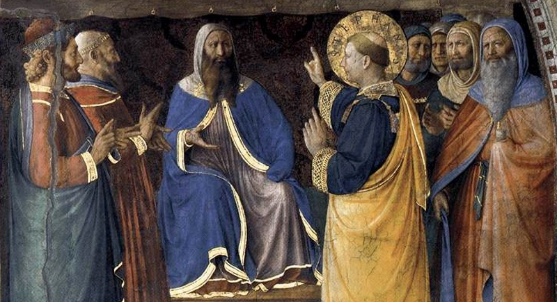 Stephen and the Dispute before Sanhedrin (Angelico, circa 1447,  Vanderbilt Div. Lib. )