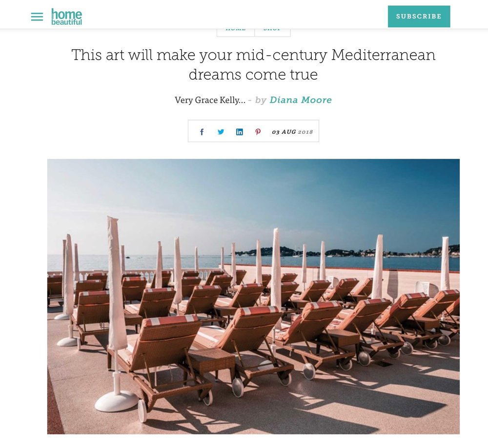 HOME BEAUTIFUL - 3rd Aug 2018Article on launch of our exclusive new collaborative series with TIGMI TRADING featuring prints from the Amalfi Coast and Cote d'Azur.