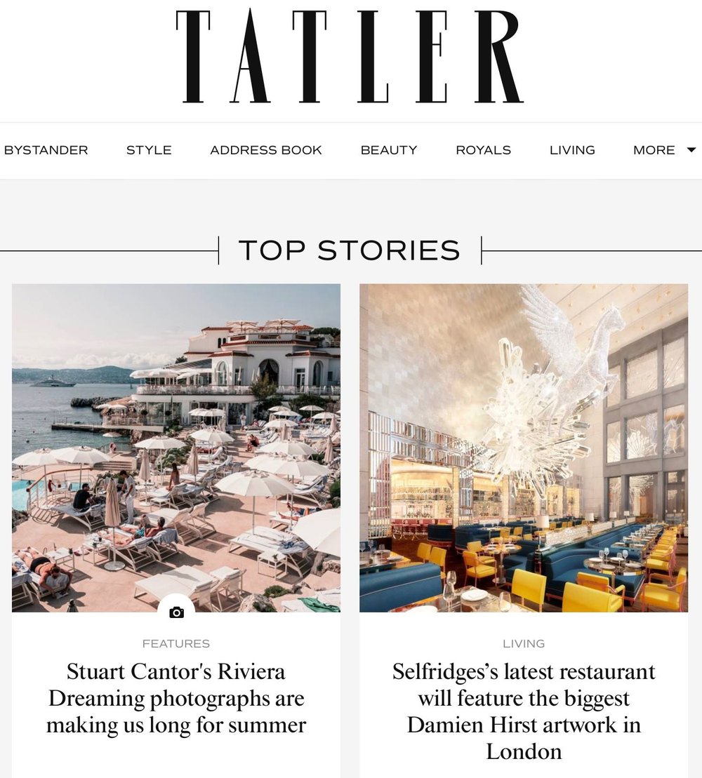TATLER - 5th Oct 2018Feature on our latest series RIVIERA DREAMING.