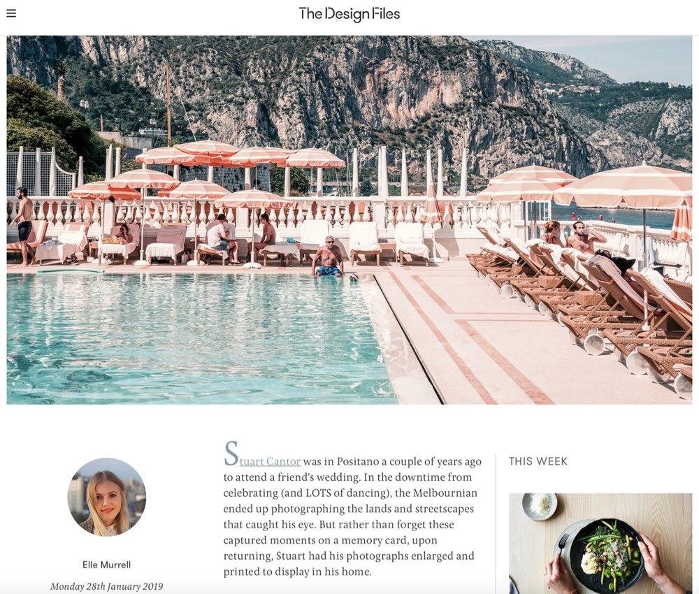 THE DESIGN FILES - 28th Jan 2019Profile article featuring our AMALFI FOREVER and RIVIERA DREAMING series.