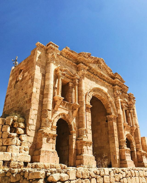 Hadrian's Gate in Jerash. Photo taken by  @asifaa on Instagram .