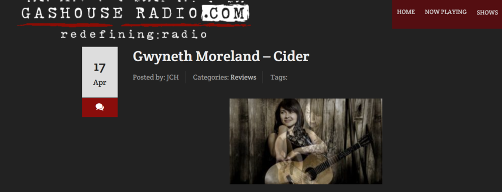 "Gwyneth Moreland – Cider Gwyneth Moreland's Cider is an intimately arranged and produced affair that positions Moreland as one of the pre-eminent talents working in folk music today. Folk music is an all-encompassing term, as used here, because there are a number of musical strains coloring the album's ten songs and it resists easy labeling. Moreland's talents are further burnished by working with a number of excellent production and accompanying musicians who fully understand how to elevate these performances. There's obviously a tremendous amount of care taken with these songs – the nuanced recording, tasteful playing, and excellent construction defining these tracks helps make the release stand out as one of the genre's marquee albums in recent memory. Creating a musical gem doesn't require the same amount of pressure needed to form diamonds – instead, there's a mix of focus and relaxed grace needed to make your effort stand out. That's present on this album and there's a palpable confidence that makes it even more memorable.  Even at its darkest moments, there's a real sense of joy in Moreland's music making. It comes through on material as seemingly disparate as the opener ""Movin' On"" and the third and fifth tracks, ""Little Bird"" and ""Eloise"" respectively. The former has a lighter touch, but it nevertheless has a classily handled theatricality and Moreland's crystalline phrasing aches with real feeling. ""Eloise"" has a much moodier demeanor and minor key thrust, but there's never a moment during any of these songs when you truly think Moreland has succumbed to despair. Another memorable aspect of the songs in this collection is the focus she keeps up throughout the song. Both songs also show her ability for hitting upon recognizable traditional language in new and inventive ways. Call it a talent for pouring old wine into new bottles. ""The California Zephyr"" has Gene Parsons contributing outstanding banjo playing that never outshines the accompanying instruments but, rather, plays with them. Moreland really excels at conjuring a haunting feel, placing these narratives on the biggest of possible stages, but there's never a sense of the songs being overwrought. They are carefully crafted mini-dramas each time out.  There's certainly a strong sense of the bittersweet altering the taste of ""Your Smile"", but it may be the real sleeper on this album. It has a very deliberate, pensive arrangement centered on acoustic guitar, naturally, but the backing vocals joining Moreland at various points throughout the song give it an even stronger poetic quality and the lyrics are particularly wrenching. Character pieces, to a certain extent, are the peaks on Cider and few are as detailed and fraught with tension like ""Danny Parker"". The evocative language is given a further twist by her singing and it rates among her best vocal turns. There's a very reflective feel defining the music and lyrics of the title track while Moreland underscores the atmosphere with an attentive singing performance. There's a slight upward swing making the final track, ""Summer Song"", sparkle in a way few of the other tracks do. It's an appropriately hopeful finale that stays consistent with much of what's come before. It varies the emotional mood of Cider just enough more to make it a deeper, richer experience. This is an unique release and seems perfectly realized in a way few albums are. Its cool and earnest confidence comes through from the first note to the last.  9 out of 10 stars  Lance Wright"