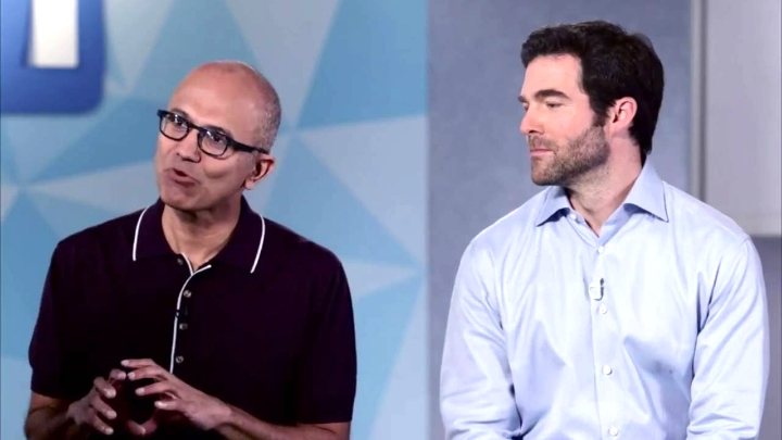 Microsoft CEO Satya Nadella and LinkedIn CEO Jeff Weiner speaking about the acquisition in an interview.