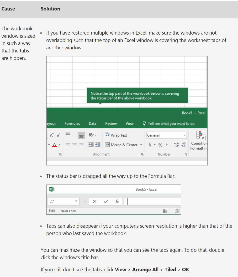 Source of  solution  and Image: Microsoft Excel Tech Community   There may be other causes which is not depicted in this article but worry not as the (?) or Excel Help in your worksheet/book button is very useful and informative.