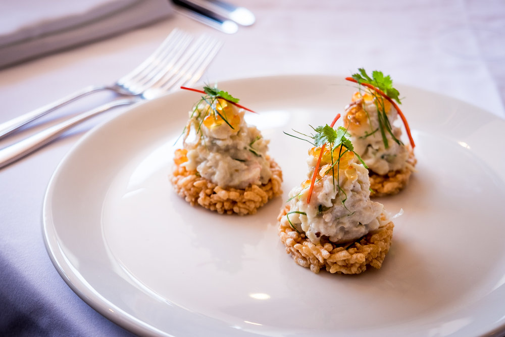 our handmade watermelon rice crackers & topped with spanner crab meat(Queensland) in coconut cream, Yarra Valley caviar :D
