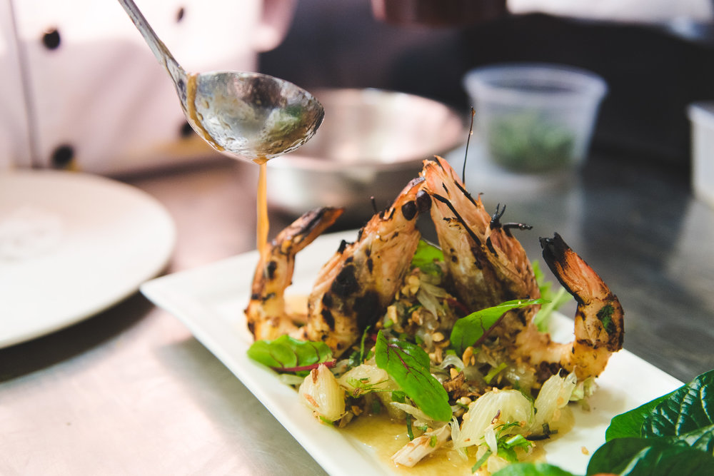 Love char grilled Australian king prawns in Thai style pomelo salad