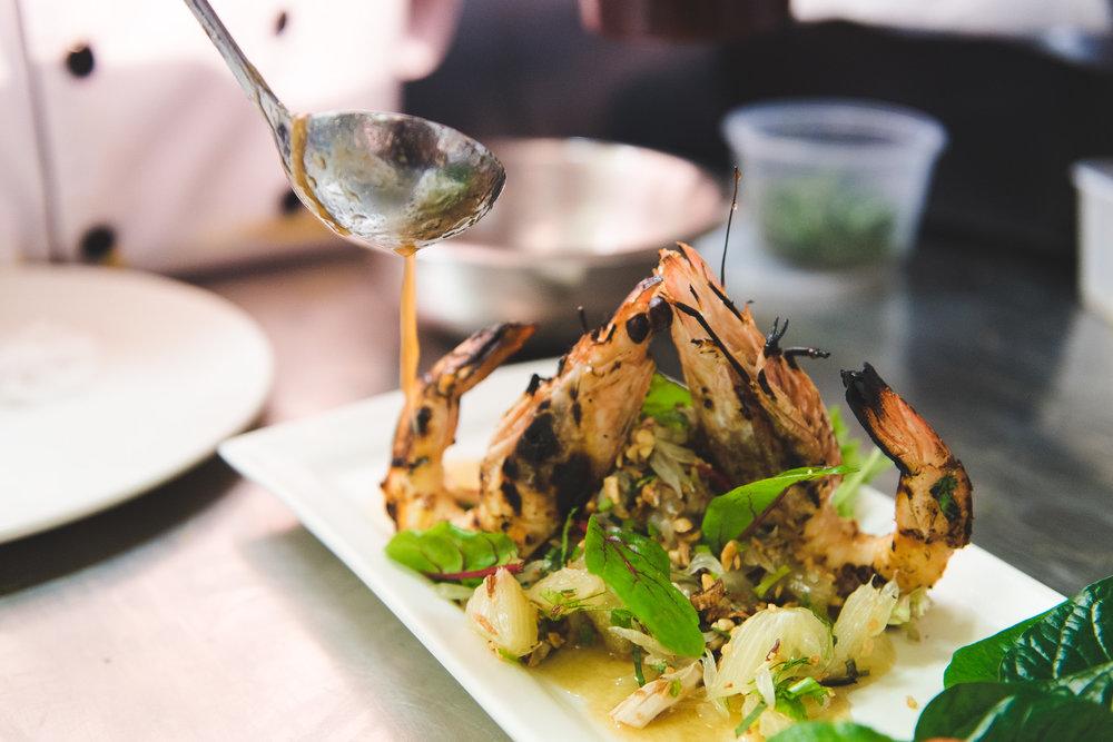 Love char grilled Australian king prawns in Thai style pomelo salad
