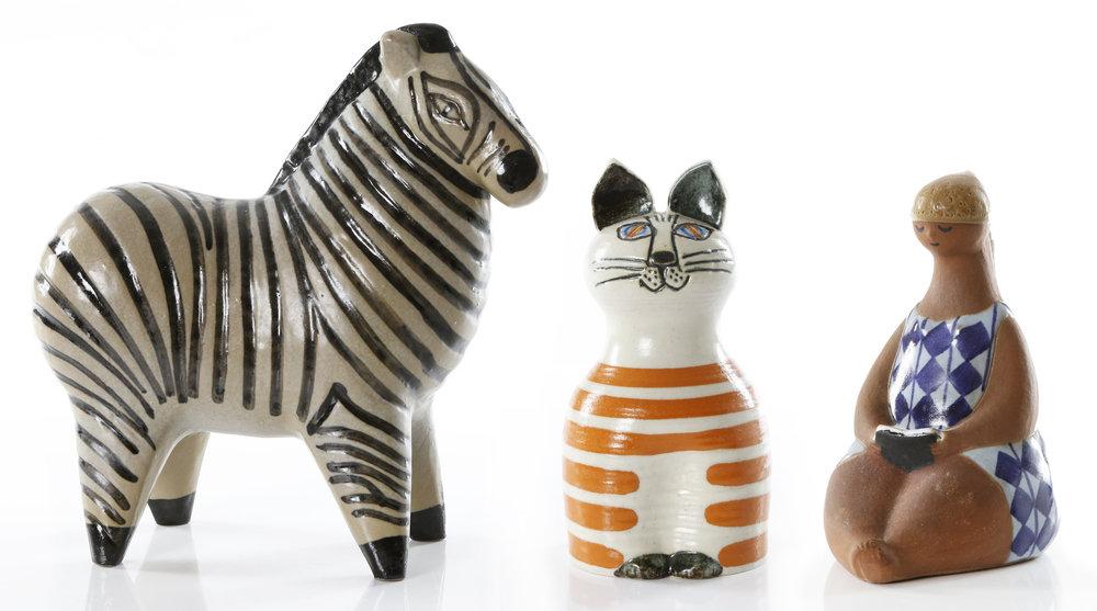 Lisa Larsons lekfulla keramikfigurer är alltid attraktivt på auktion och de eftersöks av samlare världen över.