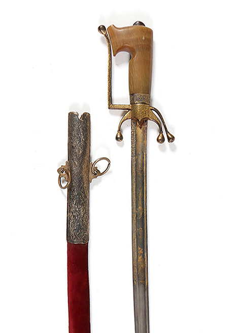 Nimcha sword, north Africa, 19th century, sold Online for SEK 9,500.
