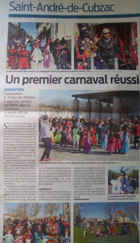 L'article est visible à cette adresse :  Un premier carnaval réussi