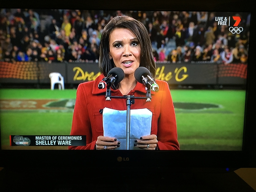 Shelley Ware MC on the MCG for the Dreamtime at the G game for 2016