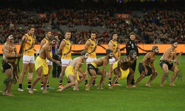The Richmond Korin Gamadji Institute dancers performing the War Cry for the Richmond players at the Dreamtime at the G game.