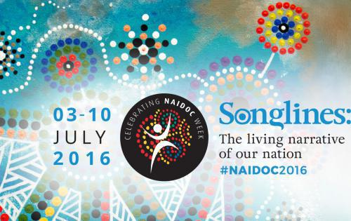 The 2016 NAIDOC week theme Songlines poster design was won by Lani Balzan a proud Wiradjuri Aboriginal woman from NSW.